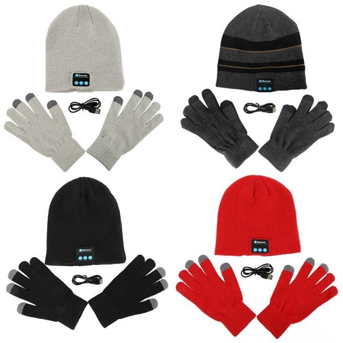 Smart Touch Screen Beanie Cap Wireless Hat Built in Headphones Touchscreen Gloves