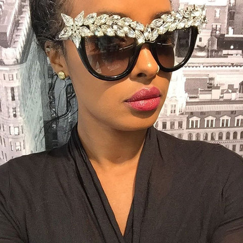 Crystal Diamond Cat Eye Sunglasses