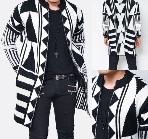 Men's Slim Fit Knitted Geometric Cardigan Sweater
