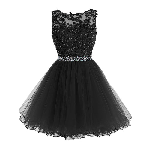 Little Black Party Dresses Lace Appliques Homecoming Dresses with Crystal Beads Keyhole Back/Backless Prom Dresses Teen Dresses Sweet 16 Dresses - kats closet1