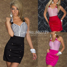 Load image into Gallery viewer, Top Quality NEW Fashion Dress Novelty Summer dresses Women Clothing Work wear Sexy Club Party Striped V neck Plus size 6913 - kats closet1