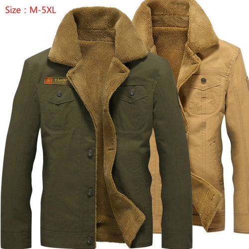 Men Denim Wool Thick Fleece Warm Coat