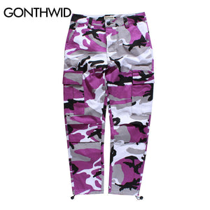 GONTHWID Color Camo Cargo Pants 2017 Mens Fashion Baggy Tactical Trouser Hip Hop Casual Cotton Multi Pockets Pants Streetwear - kats closet1