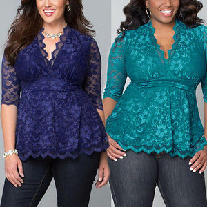 Plus Size Lace Half Sleeve V-Neck Blouse