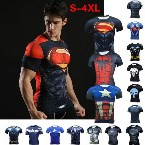 Men's Fashion Compression Tights Short Sleeve Training Workout Shirt - kats closet1