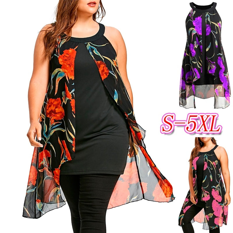Plus Size Floral Print Sleeveless Longline Blouse