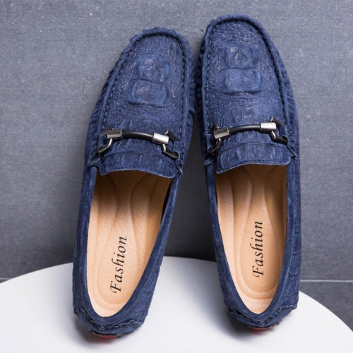Men's Crocodile Leather Slip-On Flat Loafers