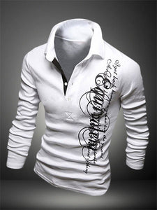 Men's Long Sleeve POLO Letter Printed Turn-Down Collar Shirt
