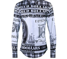 Load image into Gallery viewer, Dollar Print Long Sleeve Slim Business Shirt