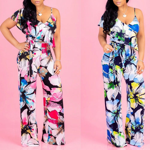 V-neck Sling Strapless Floral Print Off Shoulders Jumpsuit - kats closet1
