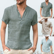 Load image into Gallery viewer, V-Neck  Linen Short Sleeve Shirt