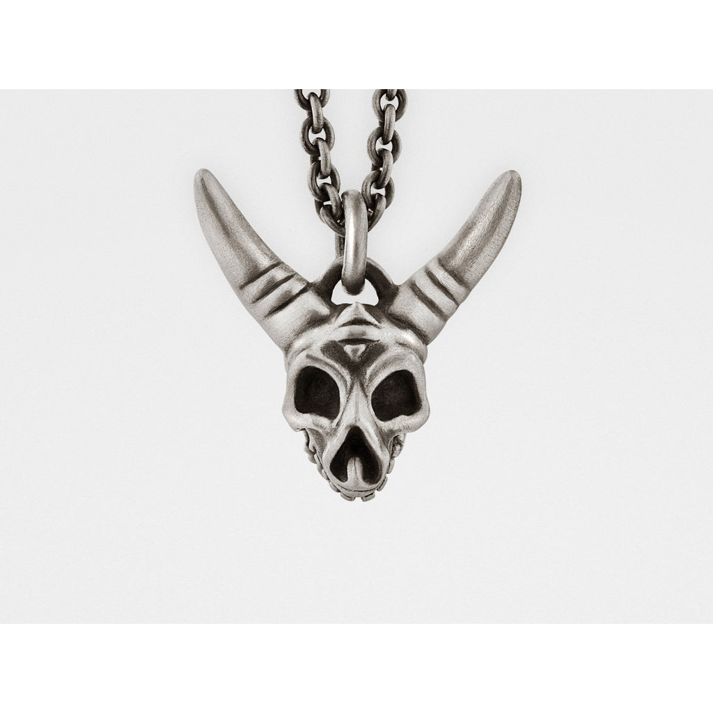 Horned Skull Pendant with Hinged Jaw in Sterling Silver - kats closet1