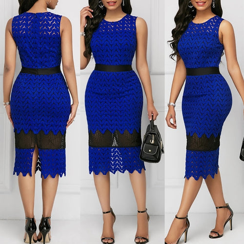 Plus Sizes Lace Dresses Women's Fashion Sleeveless Vintage Dress Round Collar Sexy Slim Waist Cute Princess Dress Evening Party Off Shoulder Dress - kats closet1