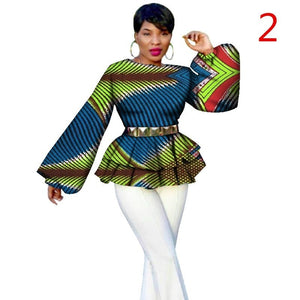 African Long Puff Sleeve Blouse - kats closet1
