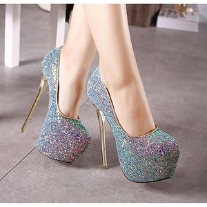 Gorgeous colorful Sequin high-heeled shoes nightclub party black, white, pink, blue, size 34-40 - kats closet1