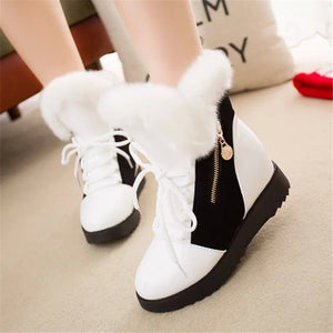 Fur Leather Boots  Casual High Top Wedge Sneakers