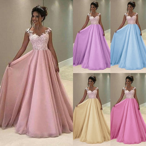 Lace Maxi Homecoming Bridesmaid Evening Party Princess Dress - kats closet1