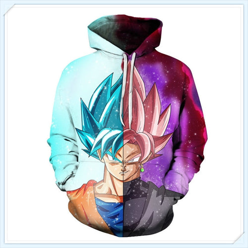 2018 spring new men's sweater seven dragon ball Monkey King 3D printed Hooded Sweater - kats closet1