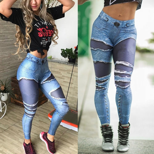 Plus Size Punk Style Demin Printing Womens Skull Leggings High Elastic Gym Fashion Fitness Leggings Sports Yoga Pants - kats closet1