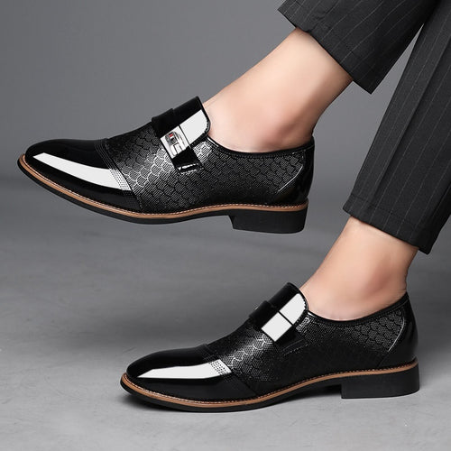 Men's Casual Slip On Comfortable Leather Flat Dress Shoes