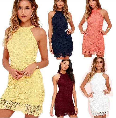 Halter Neck Sleeveless Sheath Bodycon Lace Mini Short Dress - kats closet1