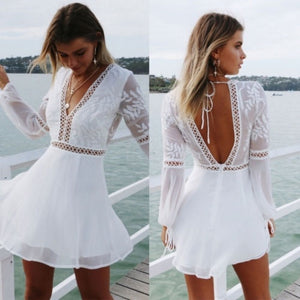 Fashion Women Autumn Casual Backless Prom Evening Party Cocktail Lace Mini Dress