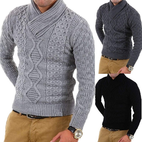 Men's Solid Color Slim High Collar Knit Sweater