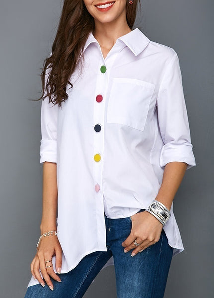 Plus Size Solid Color Long Sleeve Button Down Blouse