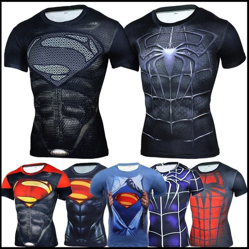 Men's League of legends Spider-Man and Superman 3D Sports Compression Shirt - kats closet1