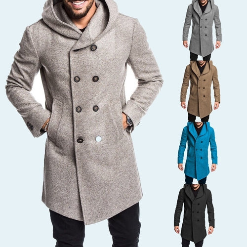 Men s Long Fleece Hooded Wool Trench Coat