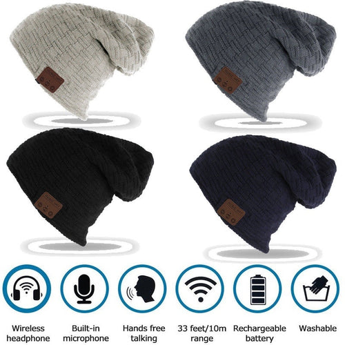 Unisex Warm Beanie Hat Wireless Bluetooth 4.2 Smart Cap Headphone Headset Speaker Mic