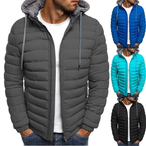 Men's Autumn and Winter  Hooded Puffer Cotton Coat