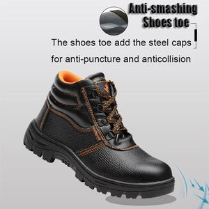 Men's Outdoor Leather Waterproof Hiking Steel Toe Work Safety Boots