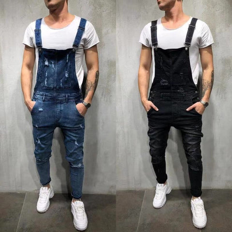Men Denim Slim Fit Ripped Destroyed Jeans - kats closet1