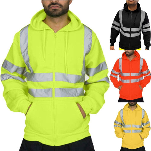 Men's Road Work High Visibility Pullover Long Sleeve Hooded Sweatshirt