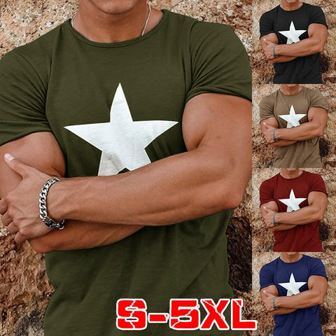 Star Print Slim Round Neck Short Sleeve Shirts