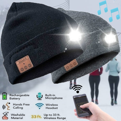 Wireless Bluetooth Stereo Smart Cap Winter Knitted Music Hat Headphone Speaker Beanie Built-in Mic Headset Flashlight