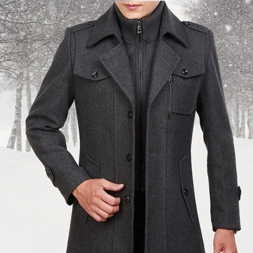 Men Casual Slim Windproof Trench Coat