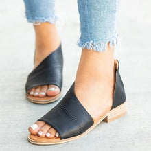 Load image into Gallery viewer, Open Toe Side Laser Cutout Faux Leather Asymmetrical Sandals - kats closet1