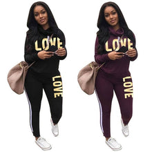 Load image into Gallery viewer, Two Piece Long Sleeve Love Sweatsuit