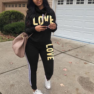 Two Piece Long Sleeve Love Sweatsuit