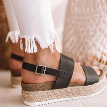 Load image into Gallery viewer, Linen Woven Sandals Casual Thick-Sole - kats closet1