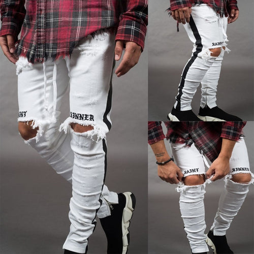 White Ripped Holes Slim Fit Jeans - kats closet1