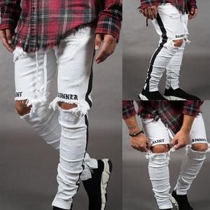 White Ripped Holes Slim Fit Jeans