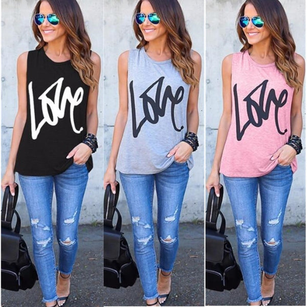 8-color Love Print Sleeveless T-Shirt