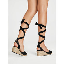 Load image into Gallery viewer, Lace Up Espadrille Wedges - kats closet1