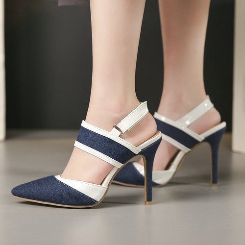 Blue Denim Pointed Toe Closed Toe Thin High Heels