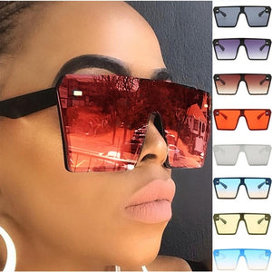 Mirror Oversize Square  Polarized Sunglasses