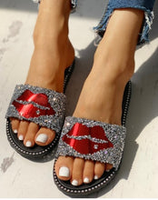 Load image into Gallery viewer, Glitter Mouth Studded Flat Sandals