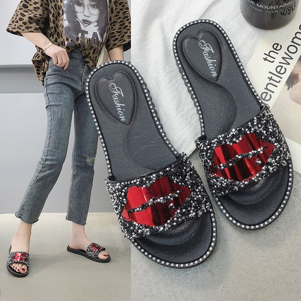 Glitter Mouth Studded Flat Sandals